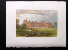 Morris Seats 1860's Antique Print. Burton Constable. Foxhunting